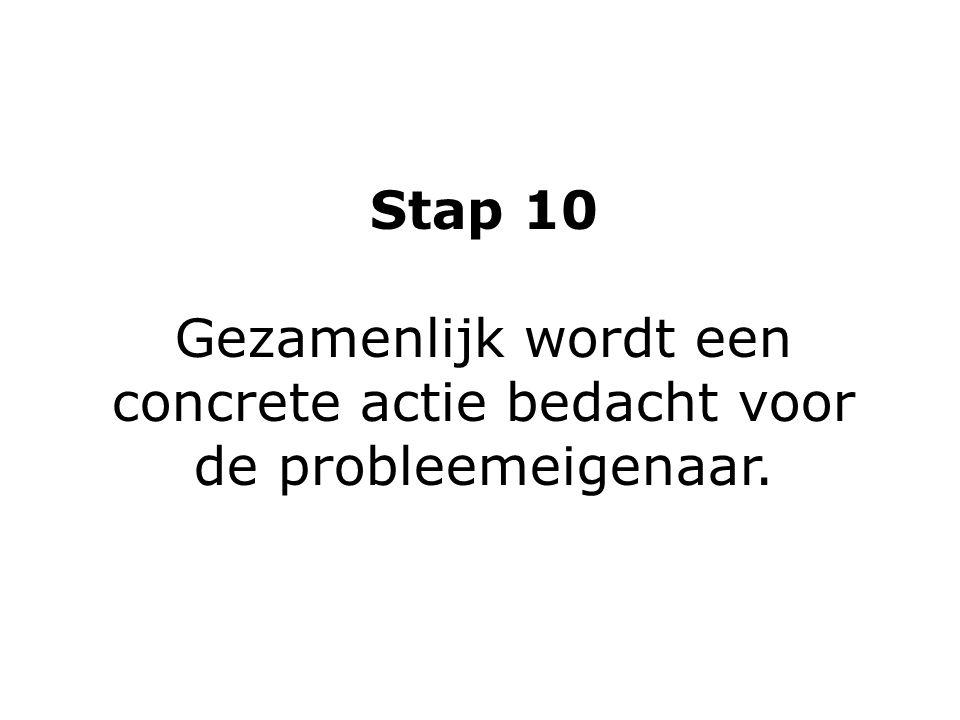 Stap 10 Gezamenlijk wordt een concrete actie bedacht voor de probleemeigenaar.