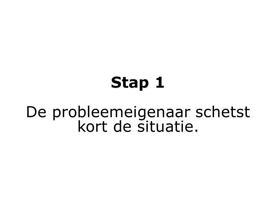 Stap 1 De probleemeigenaar schetst kort de situatie.