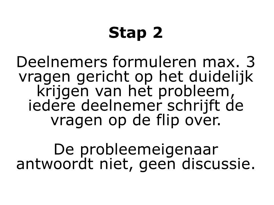 Stap 2 Deelnemers formuleren max. 3 vragen gericht op het duidelijk krijgen van het probleem, iedere deelnemer schrijft de vragen op de flip over. De