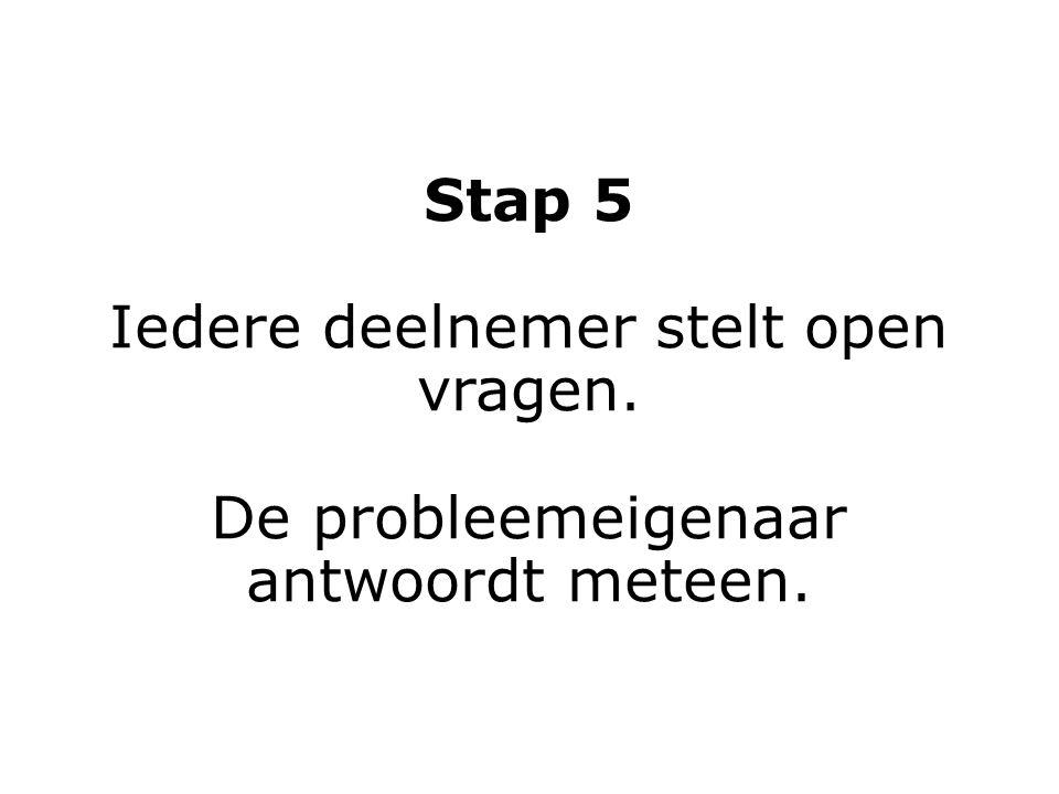 Stap 6 Iedereen behalve de probleemeigenaar schrijft op de flip: het probleem is... Geen discussie.