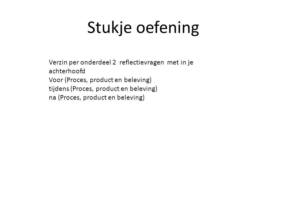 Stukje oefening Verzin per onderdeel 2 reflectievragen met in je achterhoofd Voor (Proces, product en beleving) tijdens (Proces, product en beleving)