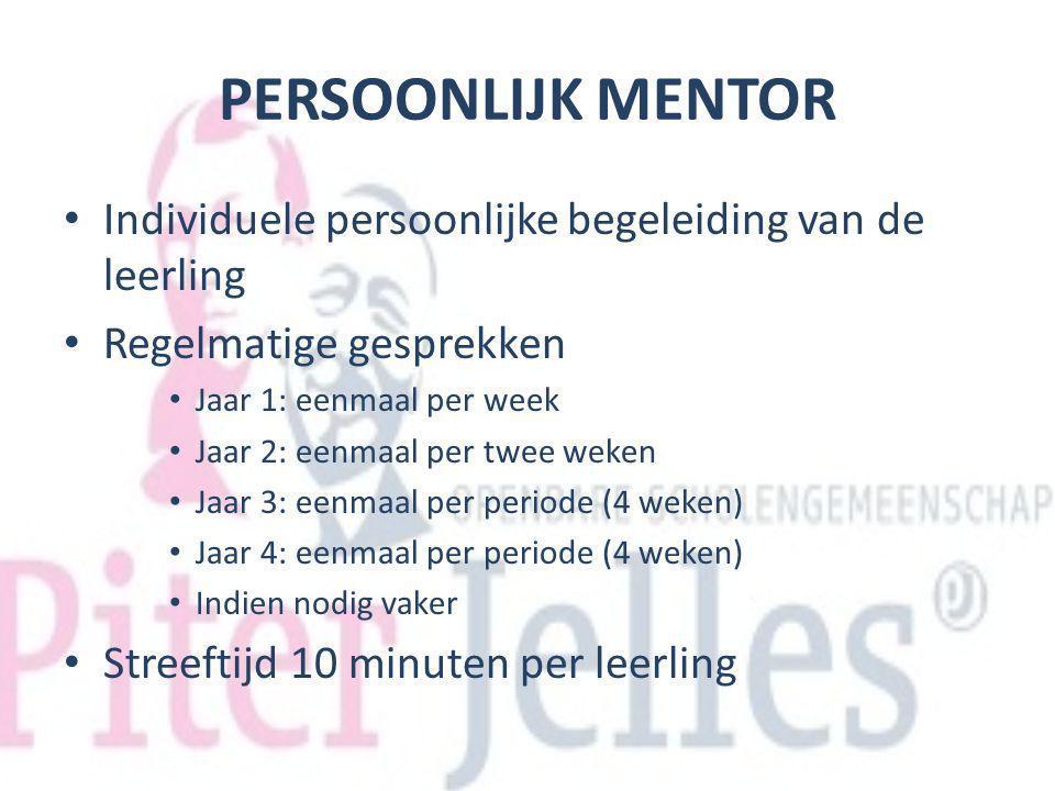 PERSOONLIJK MENTOR Individuele persoonlijke begeleiding van de leerling Regelmatige gesprekken Jaar 1: eenmaal per week Jaar 2: eenmaal per twee weken
