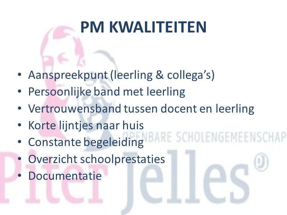 PM KWALITEITEN Aanspreekpunt (leerling & collega's) Persoonlijke band met leerling Vertrouwensband tussen docent en leerling Korte lijntjes naar huis