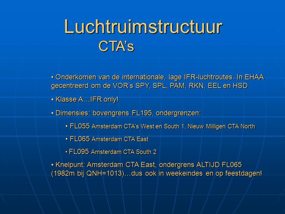 Luchtruimstructuur Twee soorten: civiel (Schiphol, Rotterdam, Beek en Eelde) en militair (Nieuw Milligen / Dutch Mil) TMA's Dimensies en klassificatie: Schiphol TMA's, klasse A, bovengrens FL095, ondergrenzen: Schiphol TMA's, klasse A, bovengrens FL095, ondergrenzen: TMA 1, 1500' MSL / 457m TMA 1, 1500' MSL / 457m TMA 2, 4 en 6, 2500' MSL / 762m TMA 2, 4 en 6, 2500' MSL / 762m TMA 3, 3500' MSL / 1067m TMA 3, 3500' MSL / 1067m TMA 5, FL055 / 1676m TMA 5, FL055 / 1676m Beek TMA's 1 en 2, klasse D vanaf 1500' MSL tot FL065 Beek TMA's 1 en 2, klasse D vanaf 1500' MSL tot FL065 Rotterdam, Eelde en Nieuw Milligen TMA's, klasse E vanaf 1500' MSL en een aantal TMA's klasse B vanaf FL065 Rotterdam, Eelde en Nieuw Milligen TMA's, klasse E vanaf 1500' MSL en een aantal TMA's klasse B vanaf FL065 Onderkomen van nationale IFR-luchtroutes en verbinding tussen luchtroutes en CTR's.