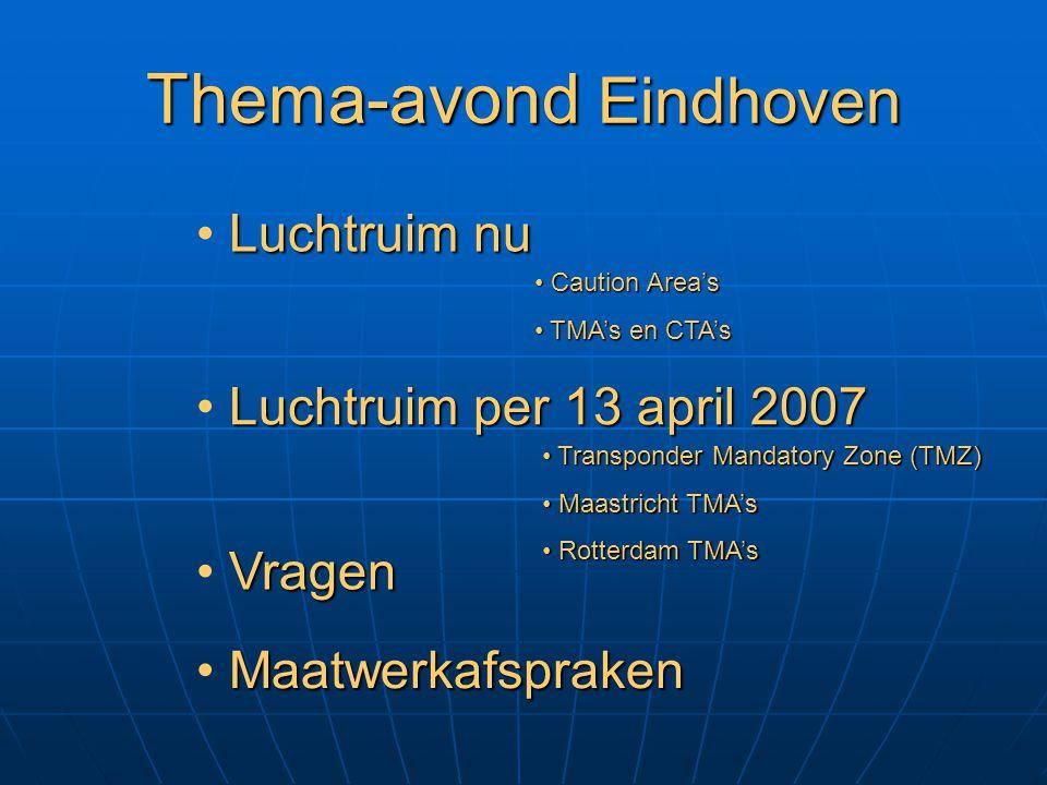 Thema-avond Eindhoven Luchtruim nu Luchtruim per 13 april 2007 Vragen Maatwerkafspraken Caution Area's Caution Area's TMA's en CTA's TMA's en CTA's Tr