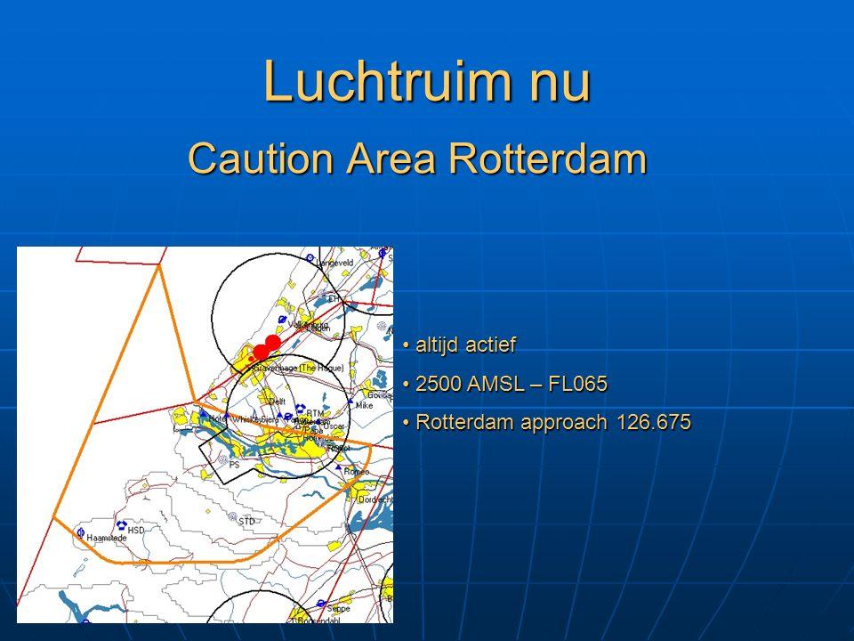 Luchtruim nu Caution Area Rotterdam altijd actief altijd actief 2500 AMSL – FL065 2500 AMSL – FL065 Rotterdam approach 126.675 Rotterdam approach 126.