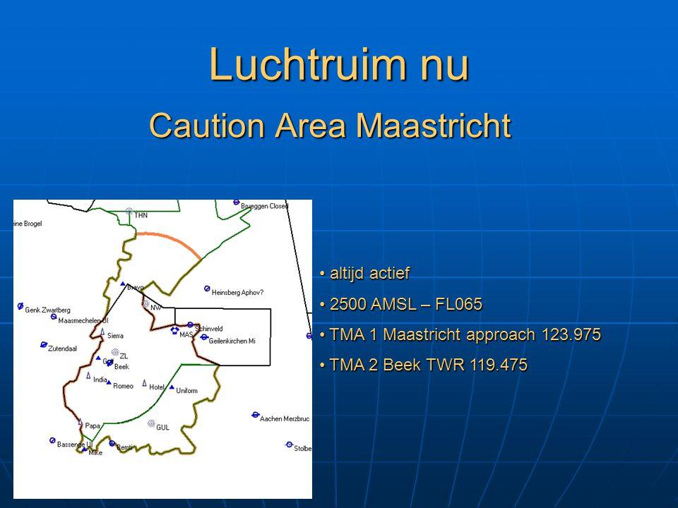 Luchtruim nu Caution Area Maastricht altijd actief altijd actief 2500 AMSL – FL065 2500 AMSL – FL065 TMA 1 Maastricht approach 123.975 TMA 1 Maastrich