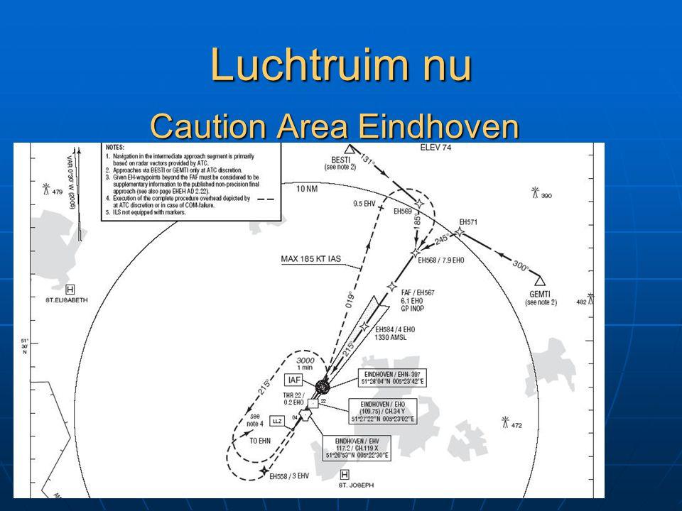 Luchtruim nu Caution Area Eindhoven altijd actief altijd actief 2500 AMSL – FL065 2500 AMSL – FL065 Dutch Mil 132.35 Dutch Mil 132.35