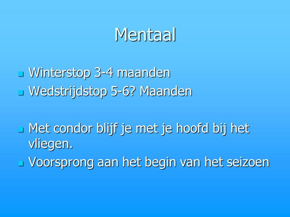 Mentaal Winterstop 3-4 maanden Winterstop 3-4 maanden Wedstrijdstop 5-6.