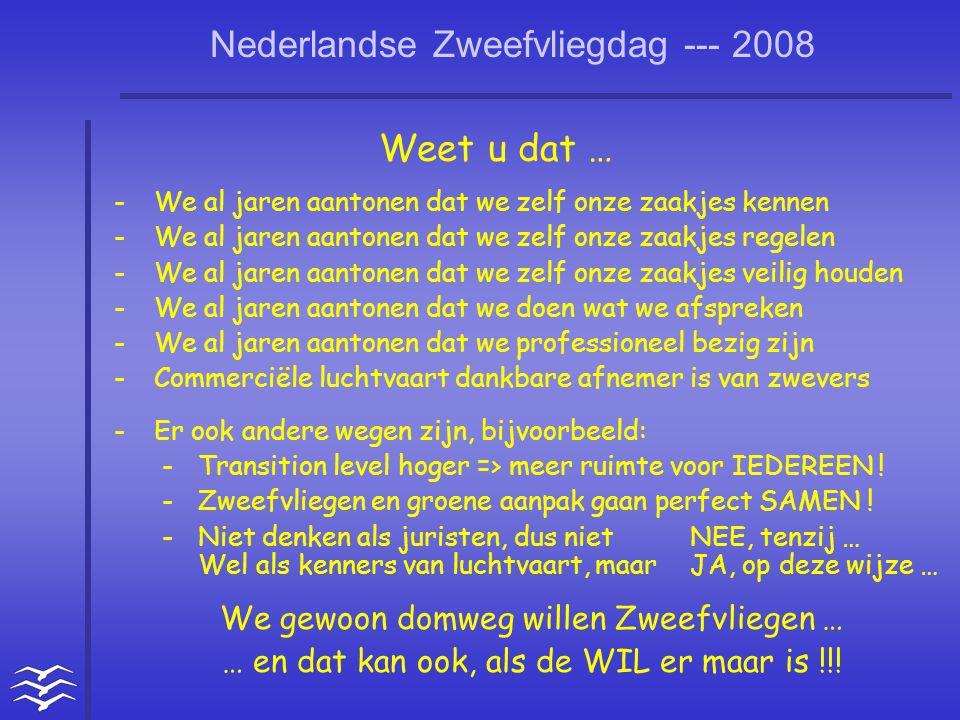 Nederlandse Zweefvliegdag --- 2008 Weet u dat … -We al jaren aantonen dat we zelf onze zaakjes kennen -We al jaren aantonen dat we zelf onze zaakjes r