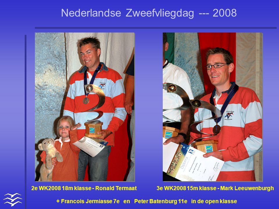 Nederlandse Zweefvliegdag --- 2008 2e WK2008 18m klasse - Ronald Termaat 3e WK2008 15m klasse - Mark Leeuwenburgh + Francois Jermiasse 7e en Peter Batenburg 11e in de open klasse