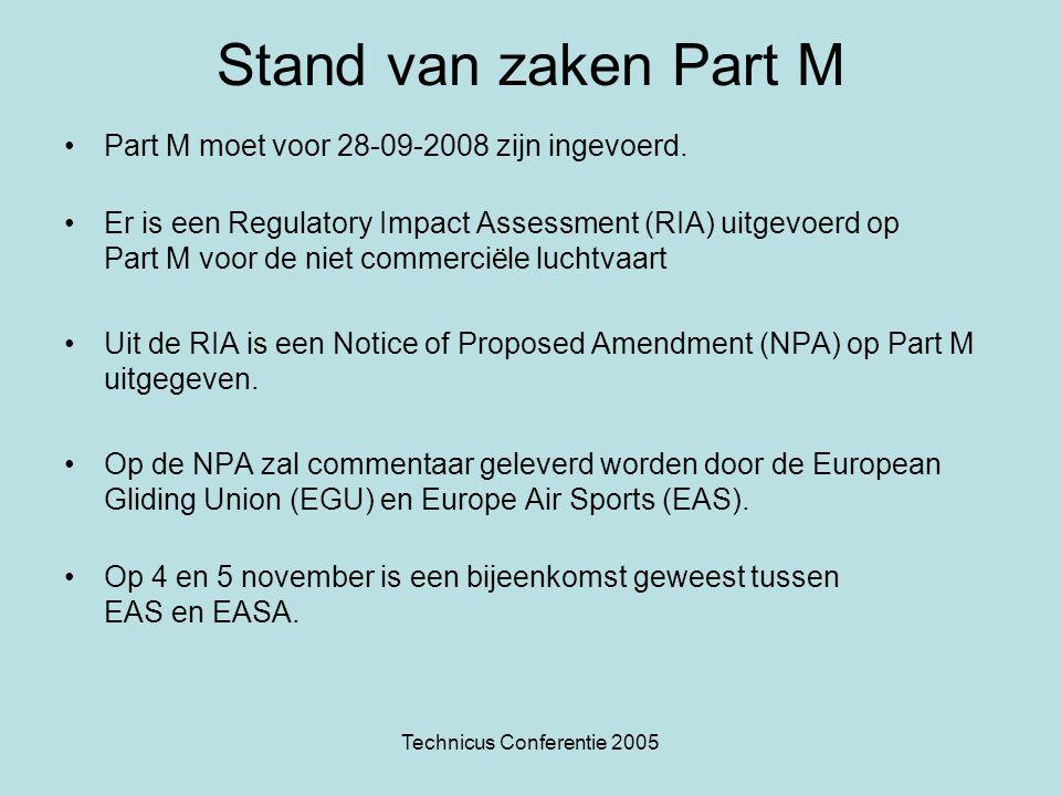 Technicus Conferentie 2005 Consequentie Part M Einde Regeling Onderhoud Luchtvaartuigen Einde Regeling Erkenning luchtwaardigheid, dus ook einde EZT Einde Regeling Standaard BvL Opmerking: De eisen voor het verkrijgen een AML voor Zweefvliegtechnici blijft (voorlopig) een nationale aangelegenheid.