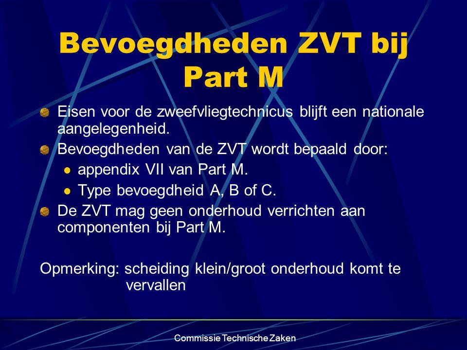 Commissie Technische Zaken Bevoegdheden ZVT bij Part M Eisen voor de zweefvliegtechnicus blijft een nationale aangelegenheid.