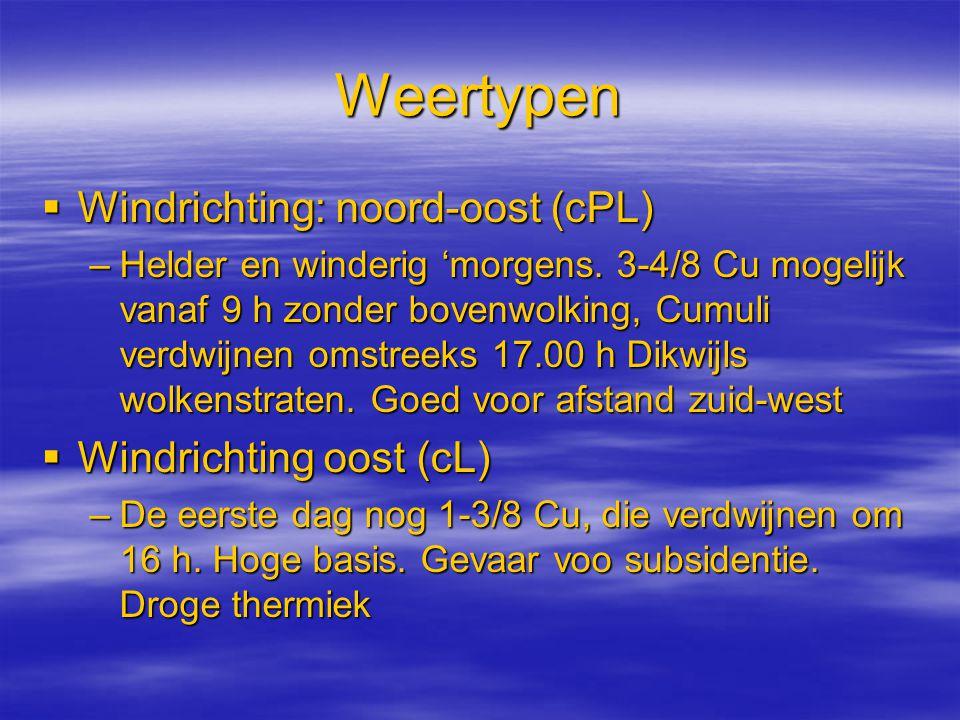 Weertypen  Windrichting: noord-oost (cPL) –Helder en winderig 'morgens. 3-4/8 Cu mogelijk vanaf 9 h zonder bovenwolking, Cumuli verdwijnen omstreeks