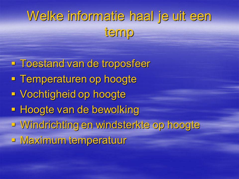 Welke informatie haal je uit een temp  Toestand van de troposfeer  Temperaturen op hoogte  Vochtigheid op hoogte  Hoogte van de bewolking  Windri