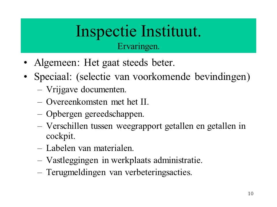 10 Inspectie Instituut. Ervaringen. Algemeen: Het gaat steeds beter.