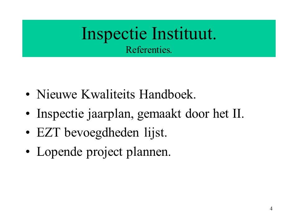 5 Inspectie Instituut.Werkwijze. In elke geldigheidsperiode twee inspecties.