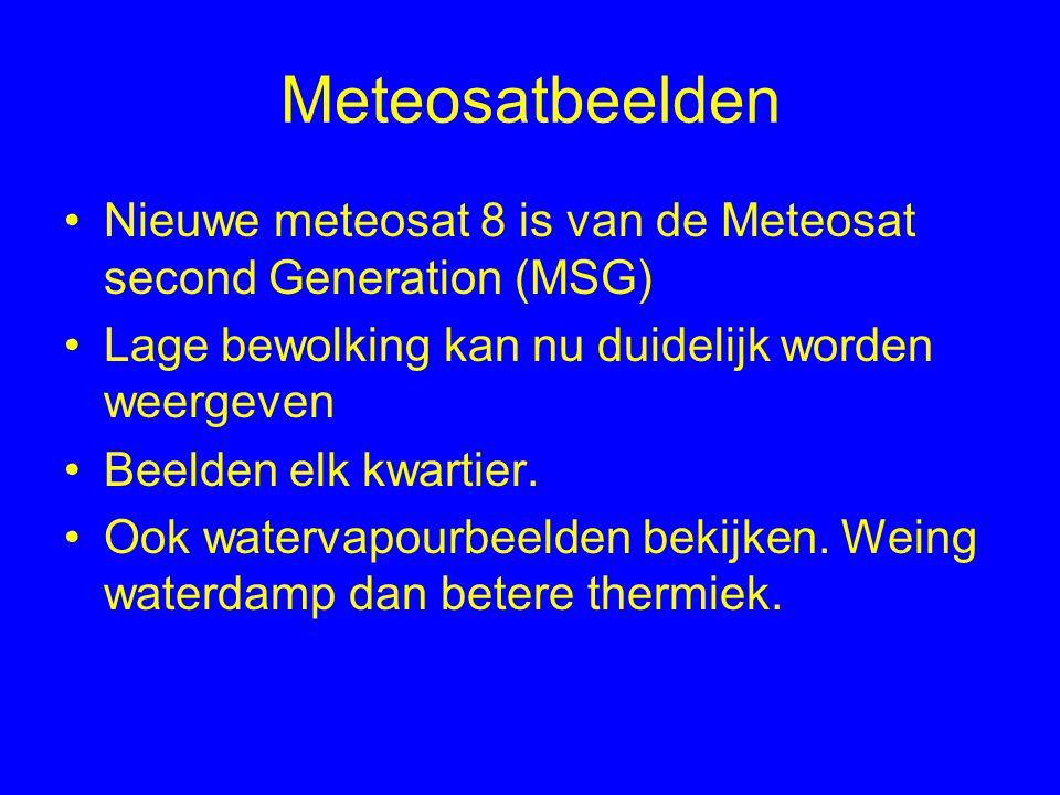 Meteosatbeelden Nieuwe meteosat 8 is van de Meteosat second Generation (MSG) Lage bewolking kan nu duidelijk worden weergeven Beelden elk kwartier.