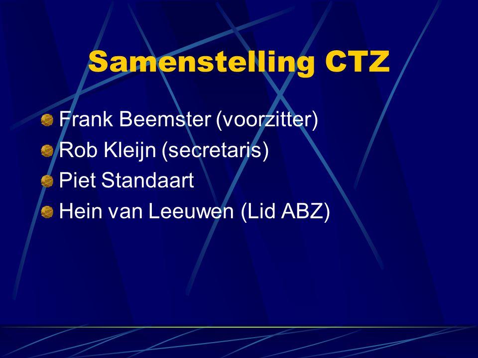 Samenstelling CTZ Frank Beemster (voorzitter) Rob Kleijn (secretaris) Piet Standaart Hein van Leeuwen (Lid ABZ)
