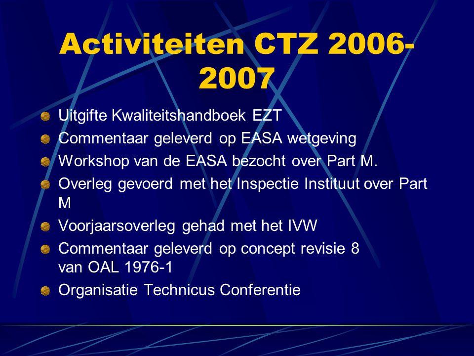 Activiteiten CTZ 2006- 2007 Uitgifte Kwaliteitshandboek EZT Commentaar geleverd op EASA wetgeving Workshop van de EASA bezocht over Part M. Overleg ge