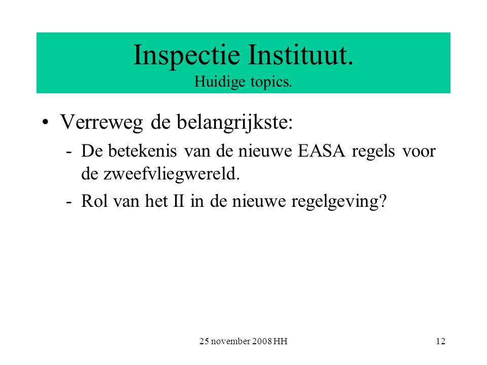 25 november 2008 HH12 Inspectie Instituut. Huidige topics.