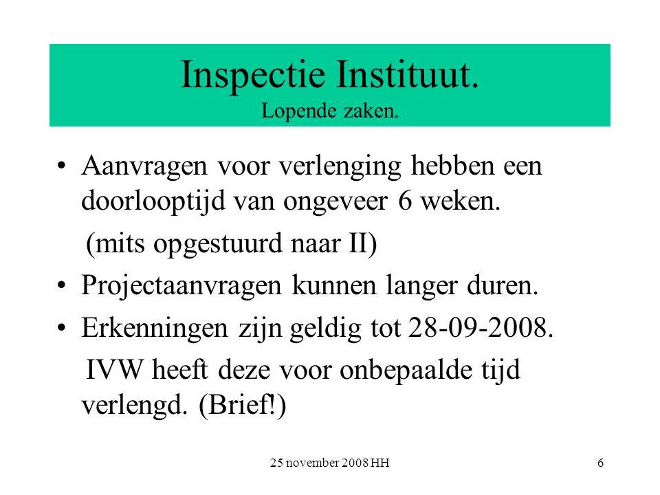 25 november 2008 HH6 Inspectie Instituut. Lopende zaken.