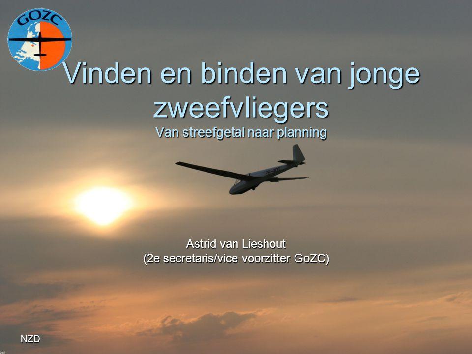 NZD Vinden en binden van jonge zweefvliegers Van streefgetal naar planning Astrid van Lieshout (2e secretaris/vice voorzitter GoZC)