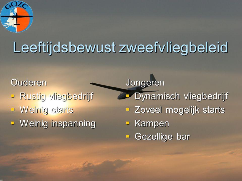 Leeftijdsbewust zweefvliegbeleid Ouderen  Rustig vliegbedrijf  Weinig starts  Weinig inspanning Jongeren  Dynamisch vliegbedrijf  Zoveel mogelijk starts  Kampen  Gezellige bar
