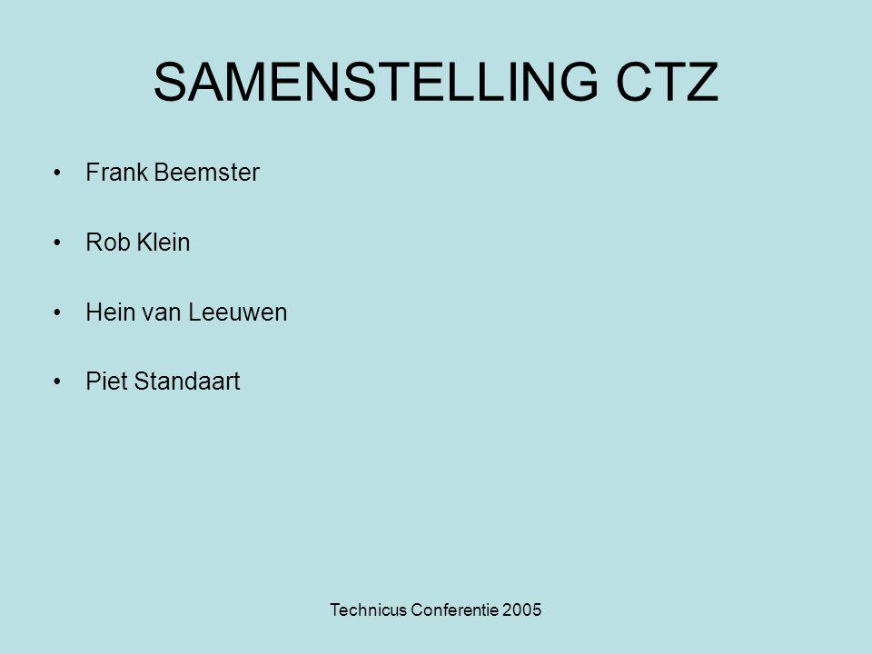 Technicus Conferentie 2005 SAMENSTELLING CTZ Frank Beemster Rob Klein Hein van Leeuwen Piet Standaart