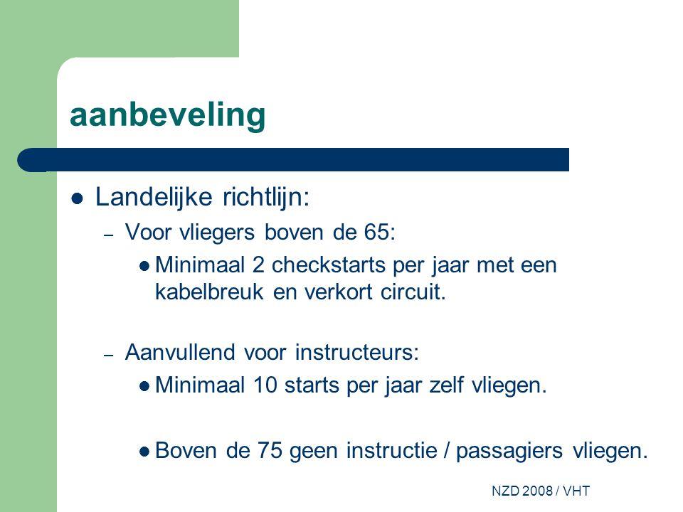 NZD 2008 / VHT aanbeveling Landelijke richtlijn: – Voor vliegers boven de 65: Minimaal 2 checkstarts per jaar met een kabelbreuk en verkort circuit.