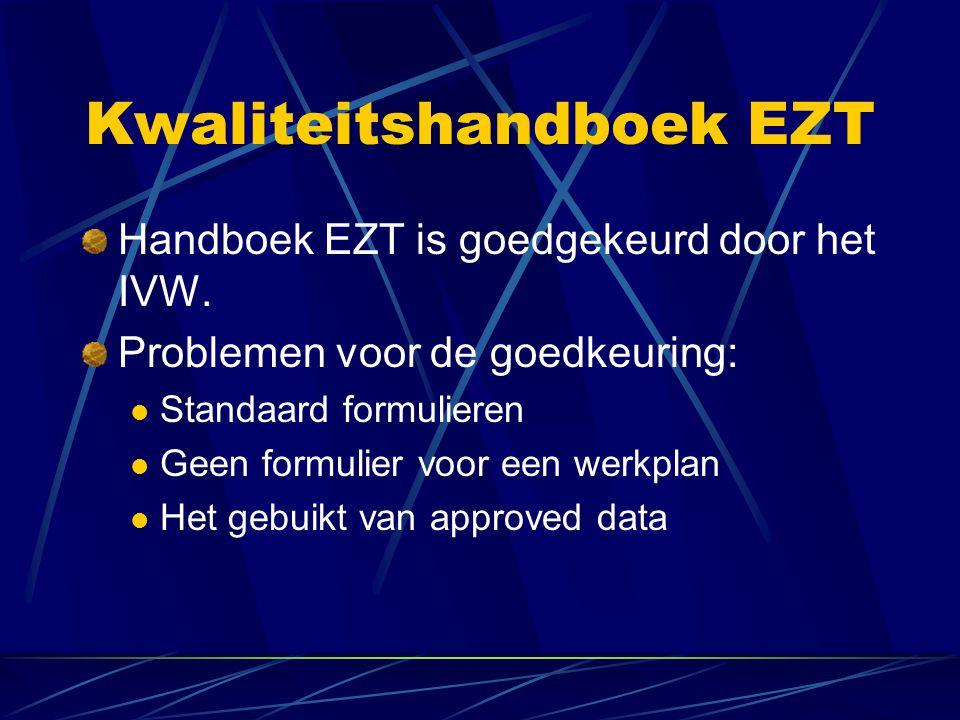 Kwaliteitshandboek EZT Standaard formulieren Besloten is om een formulier te maken voor het werkplan en certificaat van vrijgave.