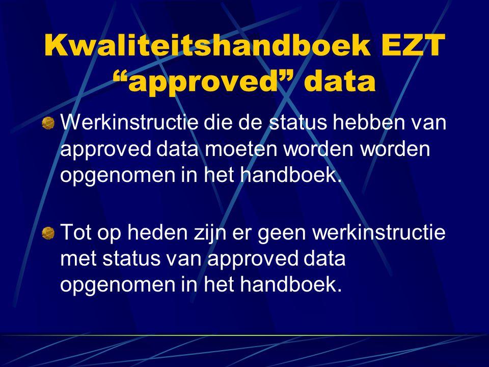 Kwaliteitshandboek EZT De volgende revisie van het handboek wordt uitgegeven rond 1 mei.