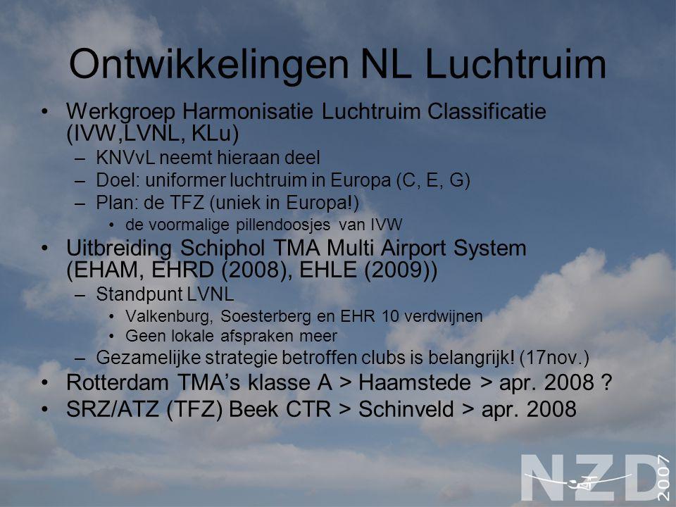 Ontwikkelingen NL Luchtruim Werkgroep Harmonisatie Luchtruim Classificatie (IVW,LVNL, KLu) –KNVvL neemt hieraan deel –Doel: uniformer luchtruim in Europa (C, E, G) –Plan: de TFZ (uniek in Europa!) de voormalige pillendoosjes van IVW Uitbreiding Schiphol TMA Multi Airport System (EHAM, EHRD (2008), EHLE (2009)) –Standpunt LVNL Valkenburg, Soesterberg en EHR 10 verdwijnen Geen lokale afspraken meer –Gezamelijke strategie betroffen clubs is belangrijk.