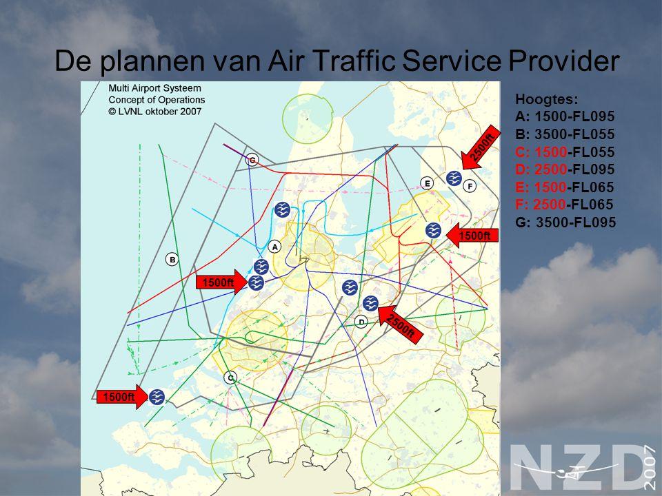 De plannen van Air Traffic Service Provider Hoogtes: A: 1500-FL095 B: 3500-FL055 C: 1500-FL055 D: 2500-FL095 E: 1500-FL065 F: 2500-FL065 G: 3500-FL095 1500ft 2500ft 1500ft