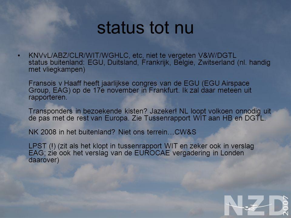 status tot nu KNVvL/ABZ/CLR/WIT/WGHLC, etc, niet te vergeten V&W/DGTL status buitenland: EGU, Duitsland, Frankrijk, Belgie, Zwitserland (nl.
