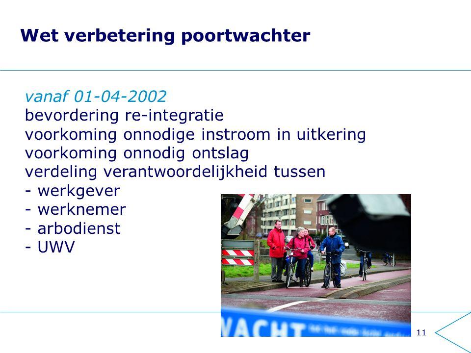 11 Wet verbetering poortwachter vanaf 01-04-2002 bevordering re-integratie voorkoming onnodige instroom in uitkering voorkoming onnodig ontslag verdel