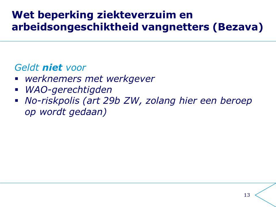 13 Wet beperking ziekteverzuim en arbeidsongeschiktheid vangnetters (Bezava) Geldt niet voor  werknemers met werkgever  WAO-gerechtigden  No-riskpo