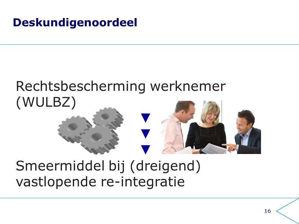 16 Deskundigenoordeel Rechtsbescherming werknemer (WULBZ) ▼ Smeermiddel bij (dreigend) vastlopende re-integratie