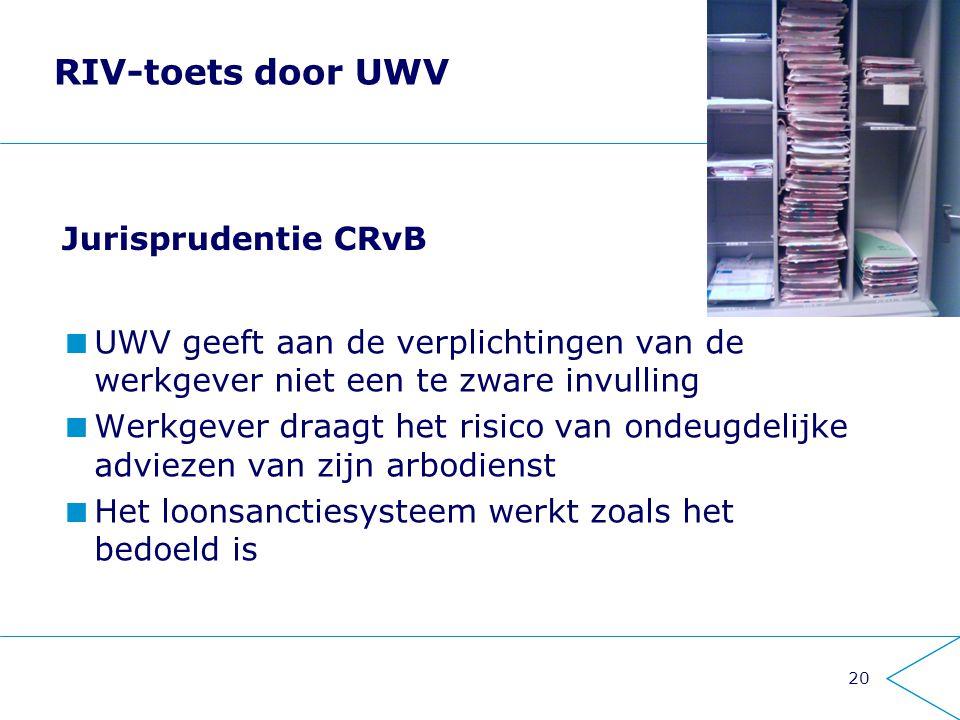 20 RIV-toets door UWV UWV geeft aan de verplichtingen van de werkgever niet een te zware invulling Werkgever draagt het risico van ondeugdelijke advie