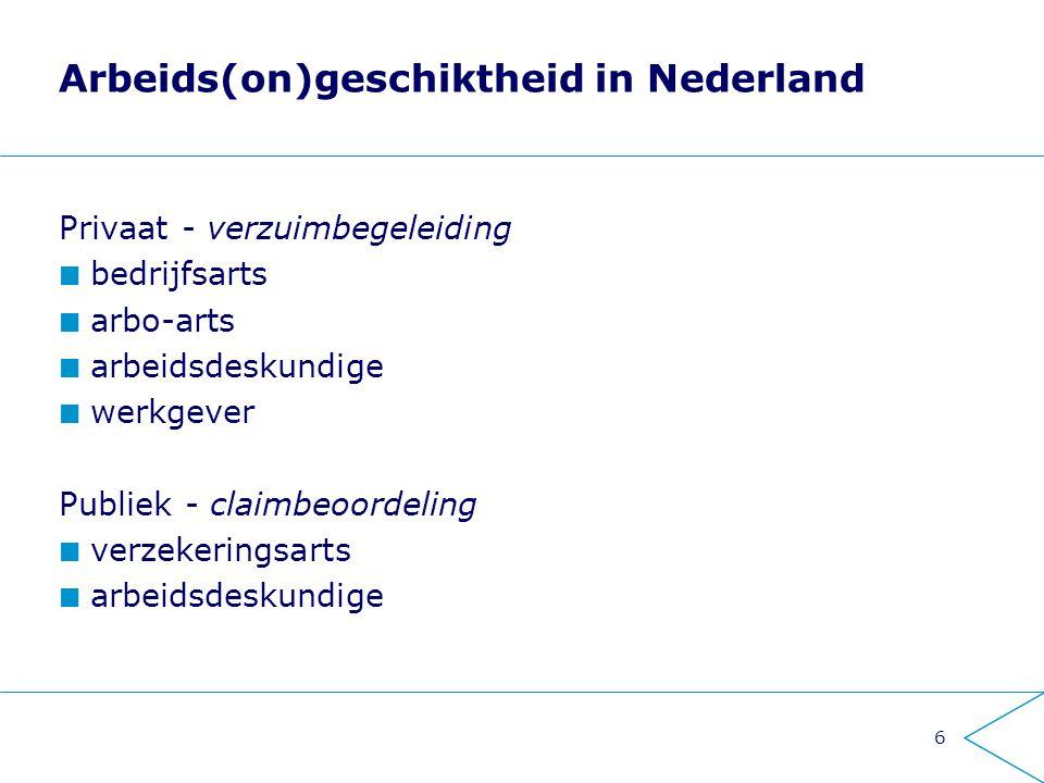6 Arbeids(on)geschiktheid in Nederland Privaat - verzuimbegeleiding bedrijfsarts arbo-arts arbeidsdeskundige werkgever Publiek - claimbeoordeling verz