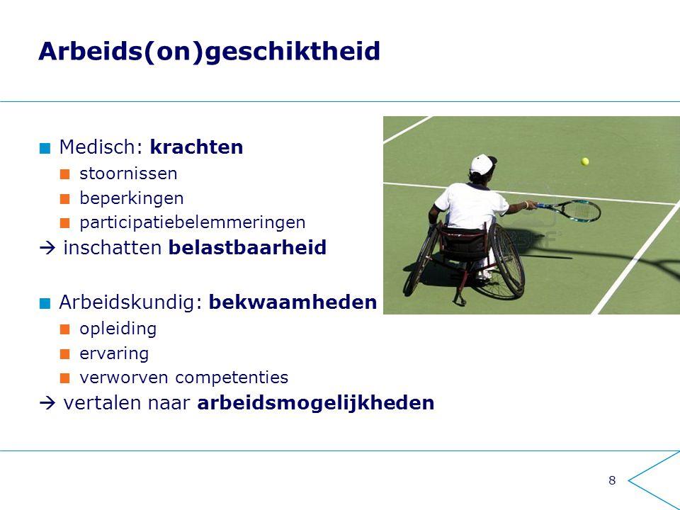 8 Arbeids(on)geschiktheid Medisch: krachten stoornissen beperkingen participatiebelemmeringen  inschatten belastbaarheid Arbeidskundig: bekwaamheden