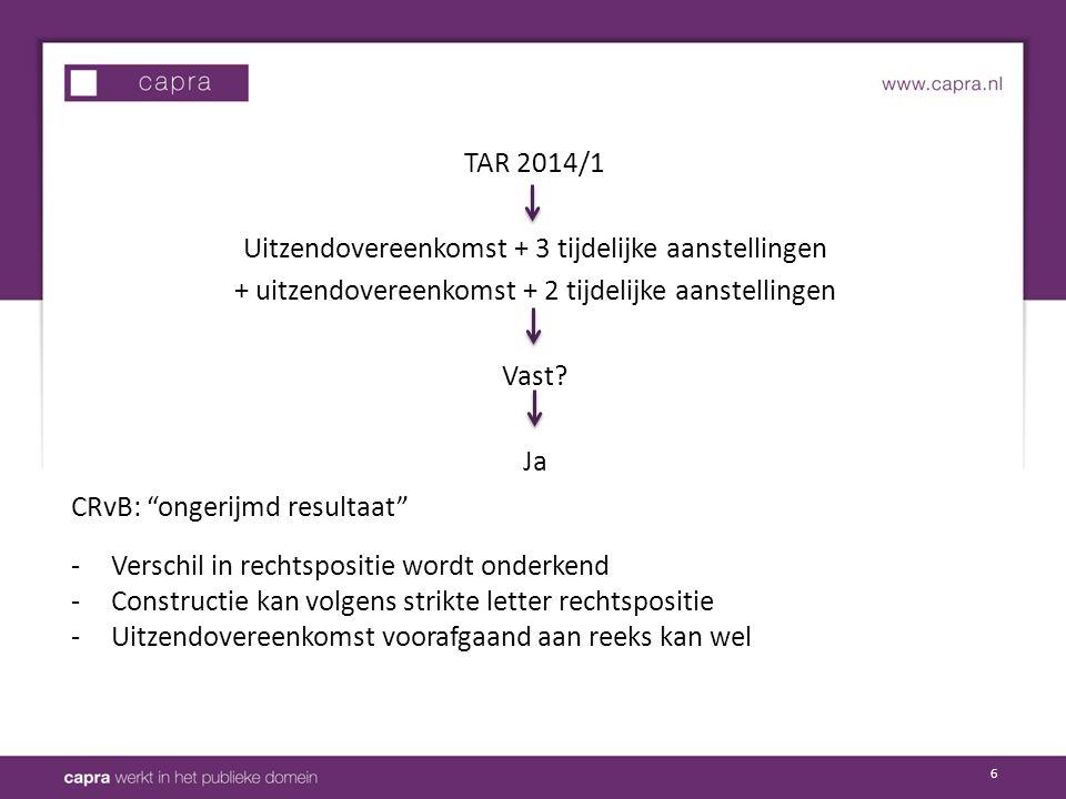 """6 TAR 2014/1 Uitzendovereenkomst + 3 tijdelijke aanstellingen + uitzendovereenkomst + 2 tijdelijke aanstellingen Vast? Ja CRvB: """"ongerijmd resultaat"""""""