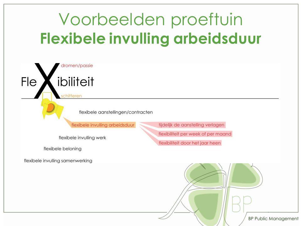 Voorbeelden proeftuin Flexibele invulling arbeidsduur