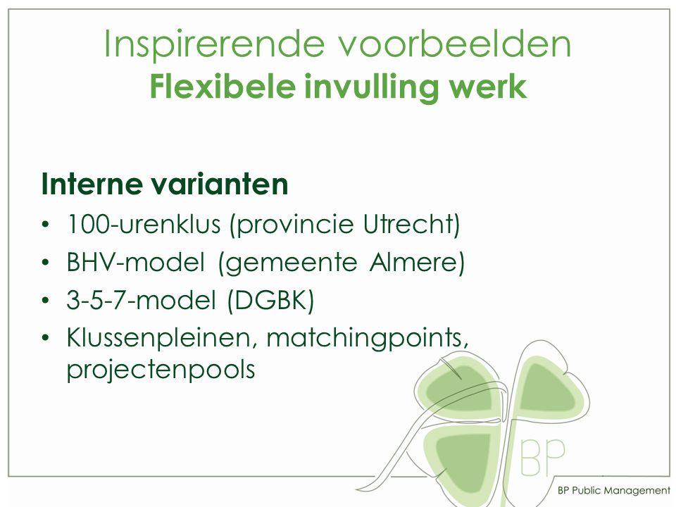 Inspirerende voorbeelden Flexibele invulling werk Interne varianten 100-urenklus (provincie Utrecht) BHV-model (gemeente Almere) 3-5-7-model (DGBK) Klussenpleinen, matchingpoints, projectenpools