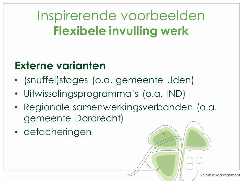 Inspirerende voorbeelden Flexibele invulling werk Externe varianten (snuffel)stages (o.a.
