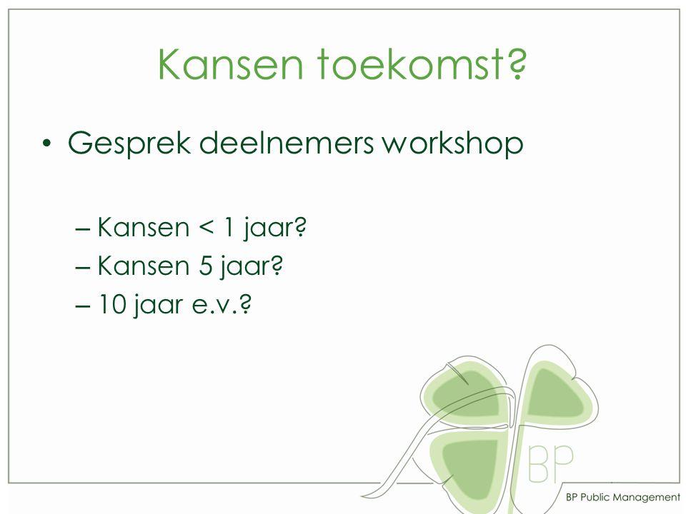 Kansen toekomst? Gesprek deelnemers workshop – Kansen < 1 jaar? – Kansen 5 jaar? – 10 jaar e.v.?