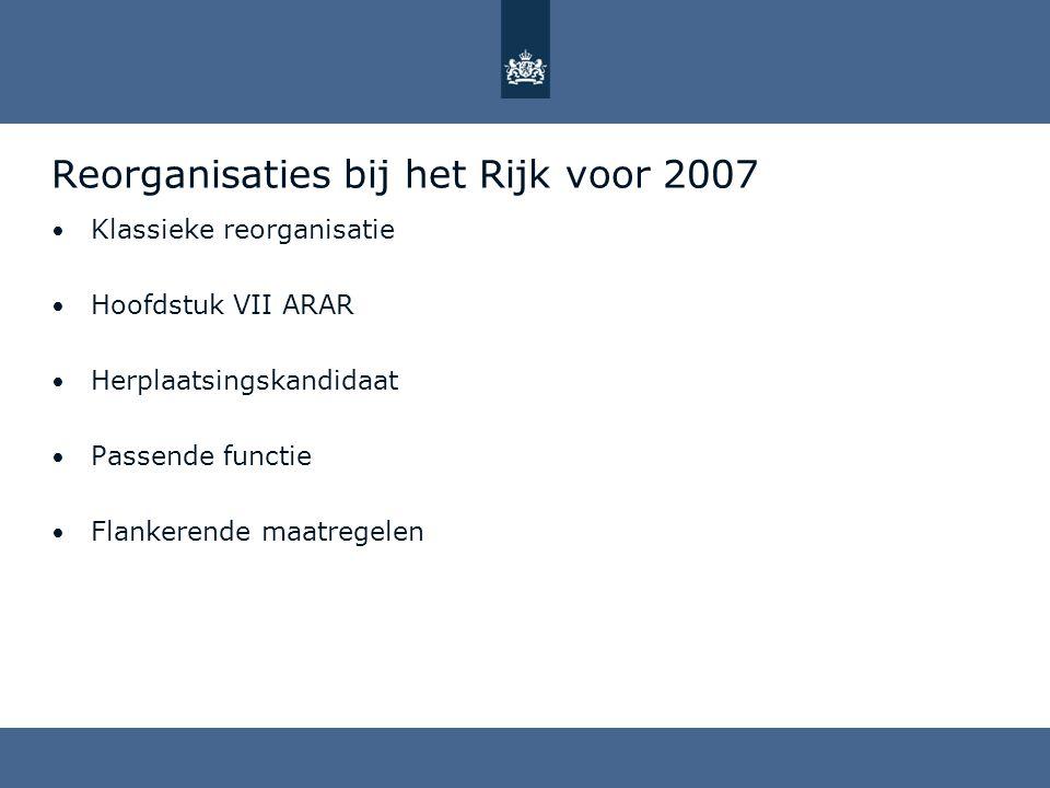 Reorganisaties bij het Rijk voor 2007 Klassieke reorganisatie Hoofdstuk VII ARAR Herplaatsingskandidaat Passende functie Flankerende maatregelen