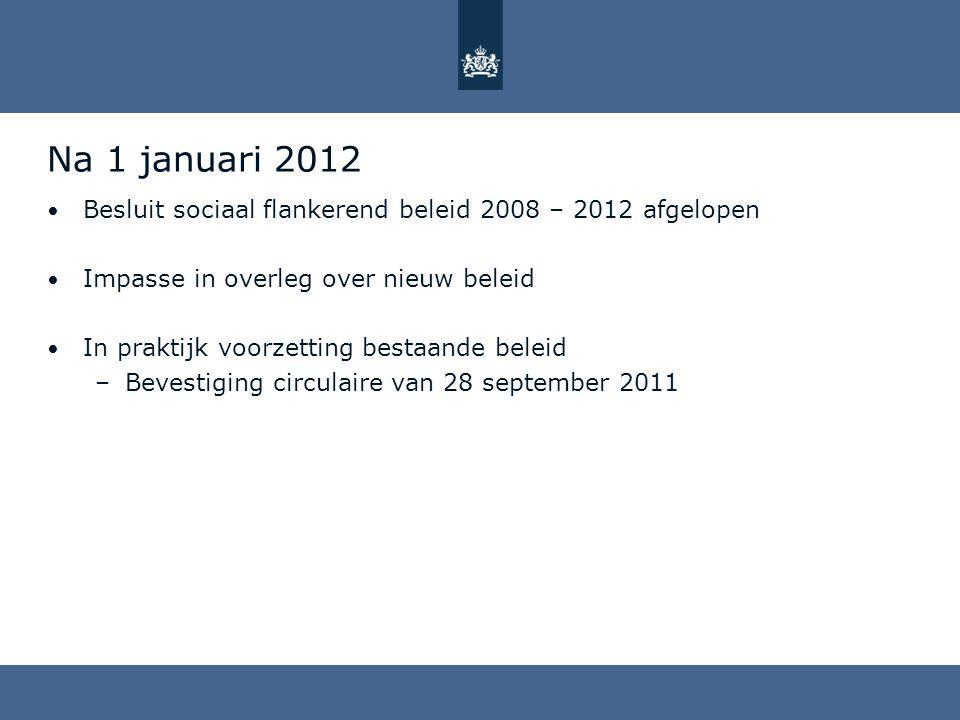Na 1 januari 2012 Besluit sociaal flankerend beleid 2008 – 2012 afgelopen Impasse in overleg over nieuw beleid In praktijk voorzetting bestaande belei