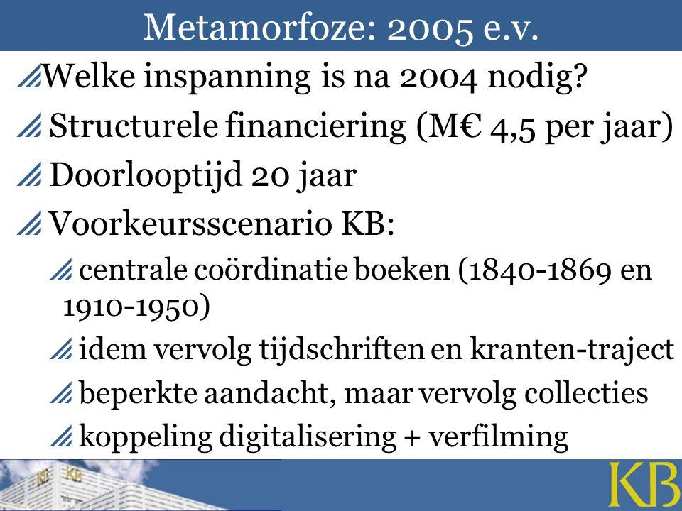 Metamorfoze: 2005 e.v.  Welke inspanning is na 2004 nodig.
