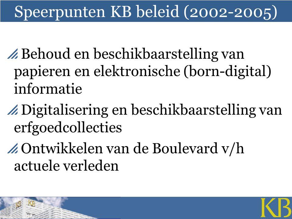 Speerpunten KB beleid (2002-2005)  Behoud en beschikbaarstelling van papieren en elektronische (born-digital) informatie  Digitalisering en beschikbaarstelling van erfgoedcollecties  Ontwikkelen van de Boulevard v/h actuele verleden